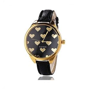 Women's Watch with Heart Design Details Black/Gold
